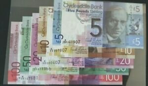 2009 £100/£50/£20/£10/£5 CLYDESDALE BANK BANKNOTE SET UNCRCULATED SPECIAL FOLDER