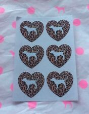 "NEW! Victoria's Secret PINK Heart Leopard Stickers (1) Sheet 6PCS ""4cm X 4cm"""
