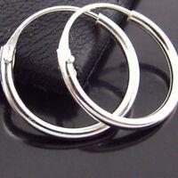 Sleeper Earrings Hoops Real 925 Sterling Silver Solid Mens Ladies Unisex 11mm
