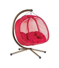 Flower House Hanging Patio Loveseat Pumpkin Chair with Stand, Red