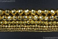 AAA Natural Gold Hematite Gemstones Faceted Round Beads 4mm 6mm 8mm 10mm 16""