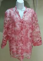 NWT $49 Elementz Women's Pink 3/4 Sleeve Floral Button Down Blouse 2-Piece Sz: L
