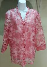 NWT $49 Elementz Women's Pink 3/4 Sleeve Floral Button Down Blouse 2-Piece Sz: L