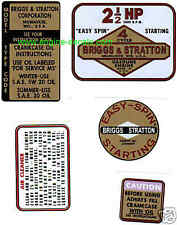 Briggs & Stratton engine decals 1960's edger; 2-1/2 SET