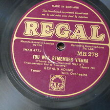 78rpm GERALD ADAMS you will remember vienna / i bring a love song