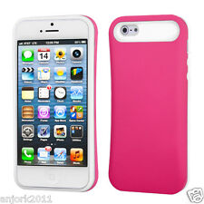 Apple iPhone 5 Hybrid Back Cover Skin Case Pastel Silicone Hot Pink White