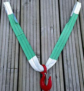 NEW PRO 4x4 RECOVERY WINCH TOWING BRIDLE STRAP STROP HEAVY DUTY HOOK 14T BREAK
