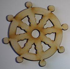 (3) 3 Inch x 3 Inch Ship Wheel Nautical Craft Project Wood Cutout WHEEL1
