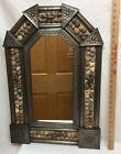 Wall Mirror Punched Tin Metal Frame Pebble Stone Inlay w/ Geico Lizard Figures