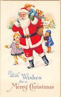 Christmas Postcard Boy on Santa Claus Shoulders Bag of Toys Girls in Snow~125513