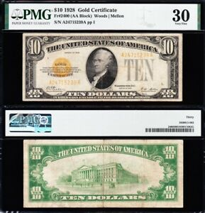 AWESOME Crisp Choice VF++ 1928 $10 GOLD CERTIFICATE! PMG 30! FREE SHIP! 15239A