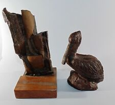 Unusual Red Mill Seated Pelican Bird Figurine & Stone Statue Wood Base Sculpture