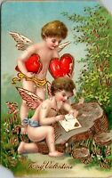 Antique Postcard To My Valentine Winged Cupid Germany