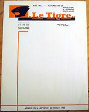 Fountain Pen 1930s Letterhead: Le Tigre - Manufacture de Porte-Plume - Tiger