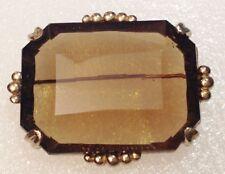 gro�� brosche jahr 50/60 deckglas für glas geschliffen rauchquarz goldfarben 4028