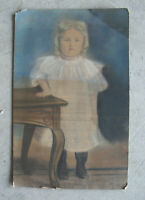 Original Vintage Late 1800s Pastel Painting Unhappy Blonde Hair Young Girl