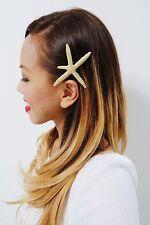 Gold Starfish Barrette Wedding Hair Clip Ariel Mermaid Nautical Accessories