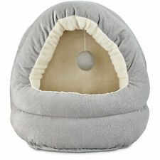 "Harmony Hooded Cave Cat Bed in Grey, 17"" L x 15"" W"