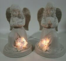 Set 2 Porcelain Lighted Praying Angels Bisque Battery Operated Holiday Christmas