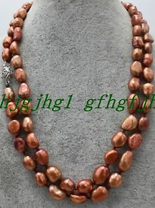 AAA Fashion Natural Brown 7-9mm Baroque freshwater pearl necklace Long 36
