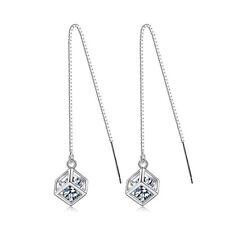 Hot Fashion 925 Sterling Silver Zircon LOVE BOX Tassel Ear Stud Drop Earrings