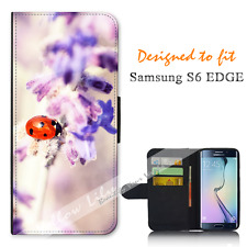 Samsung Galaxy S6 EDGE Wallet Flip Phone Case Cover Pretty Lady Bug Y00888