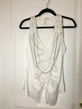 ROBBI & NIKKI Women Sexy Club Party Top Blouse White Chains Sequined XS Small