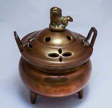 Vintage Chinese Incense Burner Brass Bronze Foo Dog 3 Leg