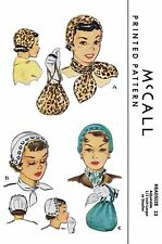 "Millinery Cap & Bag Purse 22"" Alopecia VTG Hats Fabric Sew Pattern McCall 1571"