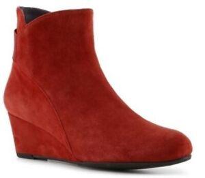 Van Eli Vaneli Red Suede Lana Wedge Ankle Boots 7 N