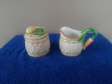 Fitz and Floyd Le Canard Sugar and Creamer Ceramic Vegetable Embossed New No Box