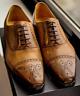 Chaussures à la mode en cuir marron à lacets pour hommes à la main