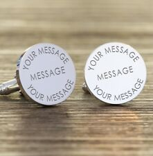 Personalised Engraved Any Message Round Cufflinks Wedding New Baby Fathers Gift
