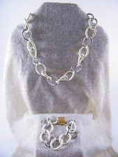 VINTAGE MONET ~ SIGNED CHUNKY CREAM / SILVER TONE CHAIN NECKLACE W/ BRACELET