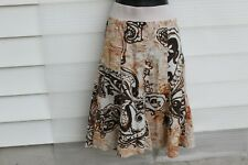 MIMI  MATERNITY CASUAL SKIRT SIZE L  COTTON COLOR BEIGE & BROWN ELASTIC WAISTBAN