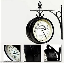Wall Clock Retro Double Sided Metal Pub Bars Outdoor Analog Mount New York Black