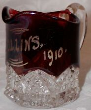 Antique Red Flash Stained EAPG Pressed Glass Mini Creamer Souvenir Memento 1910