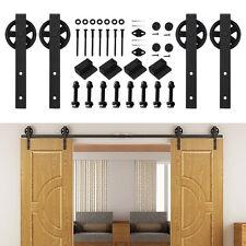 244cm Doppeltür Holz Schiebetüren Beschläge Schiebetürsystem Garage Raumteiler
