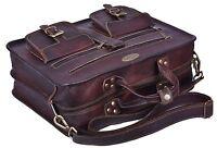 Dark Brown Genuine Leather Tote Bag Briefcase Attache Shoulder Strap Carry On