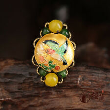 Chinese antique Cloisonne YELLOW & BLUE agate jade copper bronze Adjustable ring