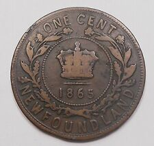 1865 Newfoundland Large Cent VG+ SCARCE 1st Year KEY Queen Victoria Nfld. Penny