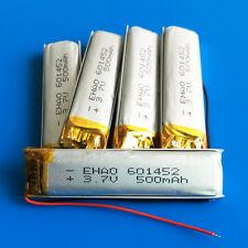 5 pcs 3.7V 500mAh Li Po Battery 601452 for Mp3 GPS Headphone Bluetooth Speaker
