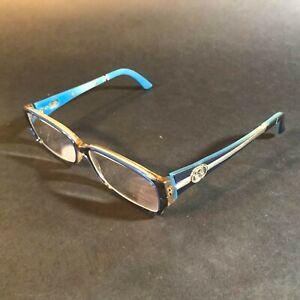 Gucci Womens Rectangular Sky Blue Silver Logos Eyeglasses Frames GG3008 VOF