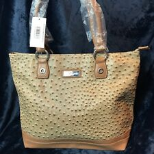 Felianna- Tan Faux Ostrich Skin Tote ./ Hobo Bag / Hand Bag- Zipper Closure