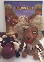 "Disney Lion King Musical RARE Programme 10"" Simba & 10"" Pumba Plush Toys Bundle"