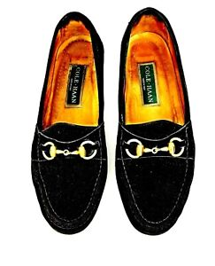 COLE HAAN MENS BLACK SUEDE CLASSIC LOAFERS GOLD TONE HORSEBIT SIZE 9.5 Italy EUC