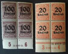 GERMANY Inflation 1923 2 block 4 MNH service stamps 20th+30pf + 100th+15pf + tab