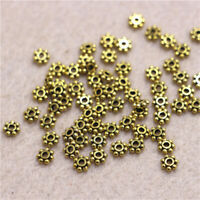 200X Antique Gold Daisy Spacer Metal Beads Jewelry Making  4mm