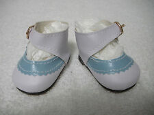"Fits 18"" Magic Attic Doll - Blue & White Buckle Mary Janes Shoes - D1513"