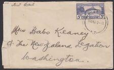 NEW ZEALAND, 1943. Censor Cover 210, Roxburgh - Washington, D.C.